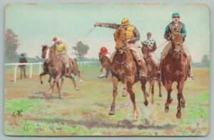 PFB Sports~Rider Whips Horse to Victory~Close Race~Grassy Track~Artist GK~#3028