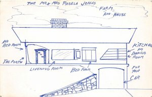 F93/ Hand-Made Postcard Sketch Pen ink Rosela Jonas Farm House 2