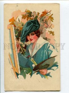 3118360 Lady PAINTER by Harrison FISHER vintage FINNISH RARE PC