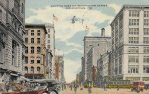 INDIANAPOLIS , Indiana , 1917 ; Looking East on Washington Street, Trolleys