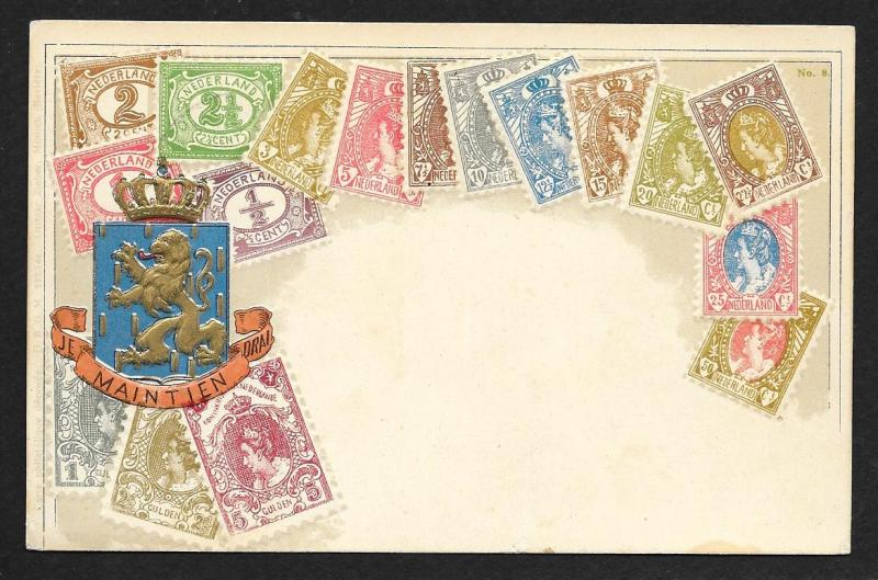 NETHERLANDS Stamps on Postcard Embossed Shield Used c1907
