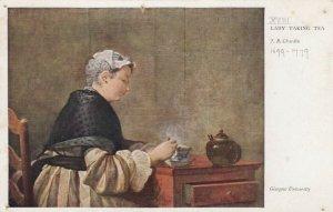 AS; Lady Taking Tea by F. B. Chardin, Glasglow University, Scotland, 1900-10s