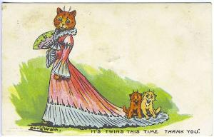 Louis Wain Dressed Cats Fan Twins Signed Vintage Postcard