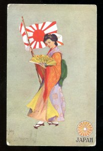 5100 - Lady JAPAN c1905 Woman with Flag & Fan. Artist Signed