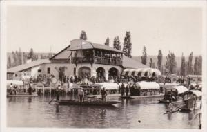 Mexico Xochimilco Canal Scene Showing Boats & Restaurant Real Photo
