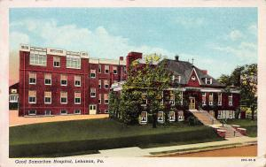 Good Samaritan Hospital, Lebanon, PA, Early Linen Postcard, Used in 1945