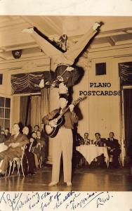 ACROBATIC MUSIC ACT AT CLUB RPPC REAL PHOTO POSTCARD