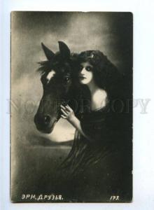 176402 Belle Woman LONG HAIR w/ HORSE Vintage PHOTO PC