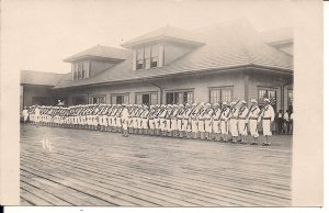 RPPC Sailors at Pier, US Navy, WWI Era, USS Kearsage Crew, Uniforms Rifles 1916