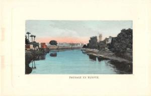 Somewhere in Egypt panoramic view ship boat canal antique pc Z22496