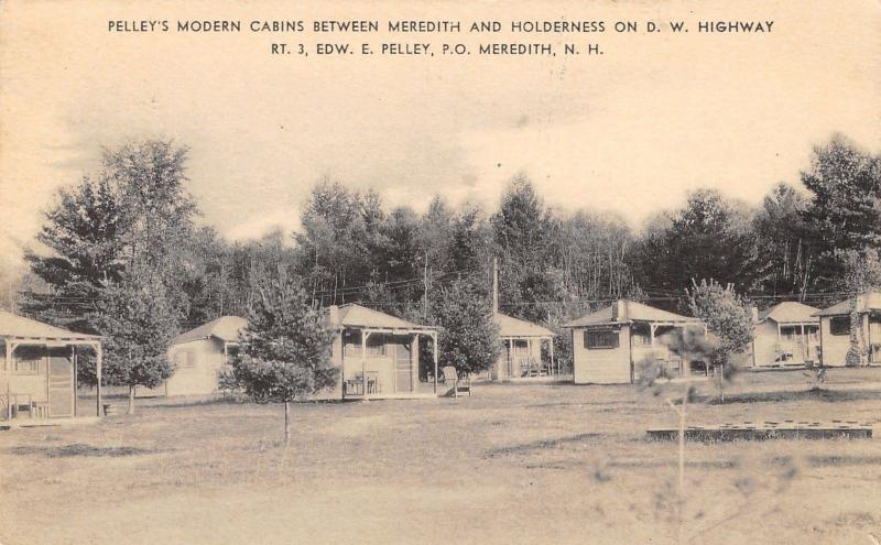 Meredith New Hampshire~Pelley's Modern Cabins~1937 B&W Lithograph Postcard