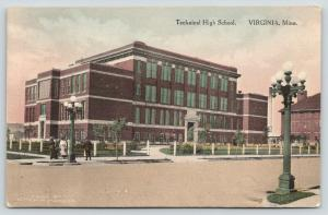 Virginia Minnesota~Technical High School~Folks Under Lamp Post~Handcolored~1920s