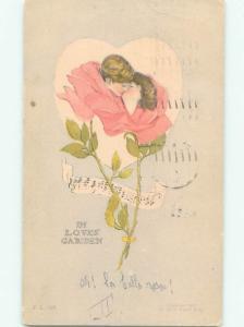 Pre-Linen fantasy ROMANTIC COUPLE KISSING INSIDE A ROSE FLOWER AB7976