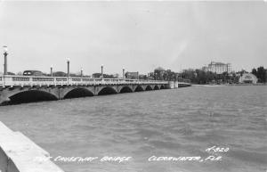 Clearwater Florida~Causeway Bridge (Route 60)~Car w Sign~Man @ Railling~40s RPPC