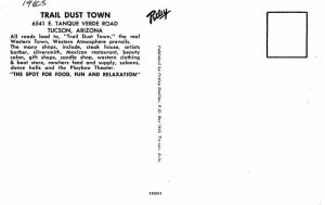 Automobiles Tucson Arizona Trail Dust Town Postcard Petley 20-4503