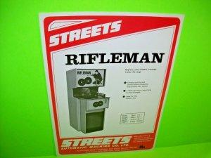Streets Automatic RIFLEMAN Vintage Original Arcade Game Flyer Shooting Rifle Gun