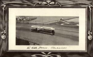 Melbourne Australia St. Kilda Beach Trolley c1910 Postcard jrf