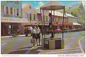 Bermuda Hamilton Policeman At Heyl's Corner Front Street 1967