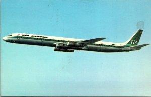 TRANS INTERNATIONAL - DC -8 FAN JET - Aviation Postcard Airlines CHROME COLOR