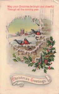 Christmas Winter Scene Robins Holly Berries Embossed Postcard