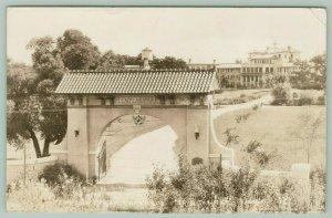 Spirit Lake Iowa~Knights Templar Park~Arch Entrance~Gate to Lodge~1939 RPPC