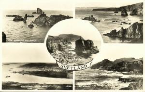 scotland, Shetland, Multiview, Hillswick, Scalloway, Knab (1959) RPPC Postcard