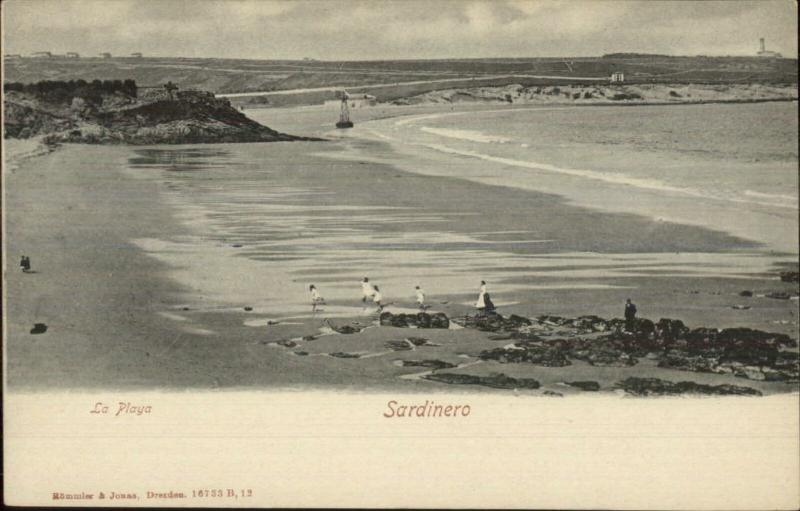 Sardinero Spain Beach & Lighthouse c1905 UDB Postcard