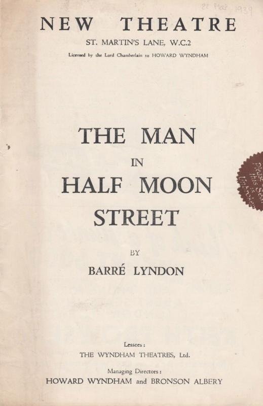 Leslie Banks The Man In Half Moon Street WW2 Ann Todd London Theatre Programme