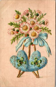 1910 - FLOWER HEART CLOVER - GREETING VINTAGE POSTCARD