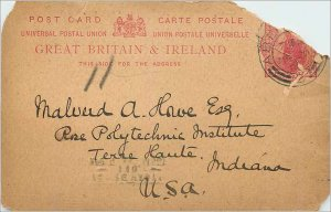 Entier Postal Stationery 1p Aberdeen for USA