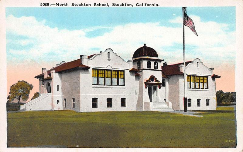 North Stockton School, Stockton, California, Early Postcard, Unused
