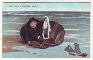 P808 old card the little young fisherman-adrift