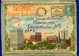 Detroit's Michigan Largest Industries & Hotels Grand Circus Park postcard folder