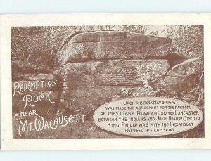 W-border REDEMPTION ROCK Wachusett by Boylston & Leominster Worcester MA AD4635