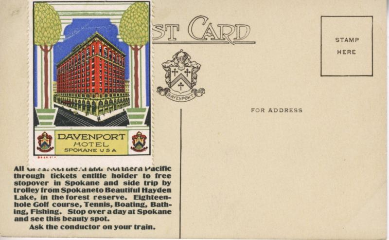 Davenport Hotel ~ Spokane WA Washington ~ with Davenport Hotel Stamp ~ Postcard