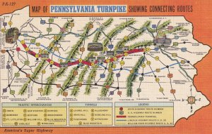 Map of PENNSYLVANIA TURNPIKE showing connecting routes, 1930-40s