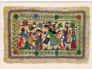 Reproduction Of Primitive Paintings On Amatl Natural Bark Paper Guerrero Mexico