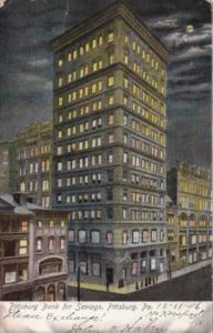 Pennsylvania Pittsburgh Bank For Savings At Night 1906