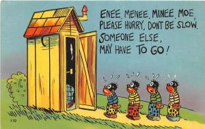 E13/ Black Americana Comic Linen Postcard Enee Menee Miney Moe Outhouse Kids26