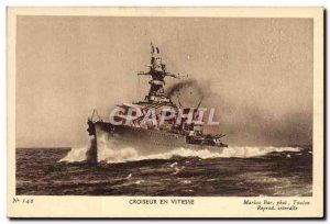 Old Postcard warship cruiser speed