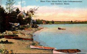 Maine Gardiner Island Park Lake Cobbosseecontee Shore View 1922 Curteich