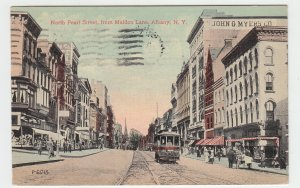 P2117, 1914 postcard Trolly people etc north pearl street albany ny