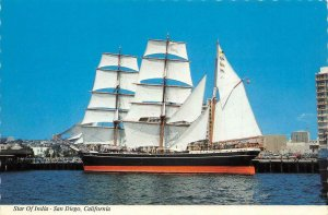 STAR OF INDIA San Diego, CA Maritime Museum c1960s Continental Postcard