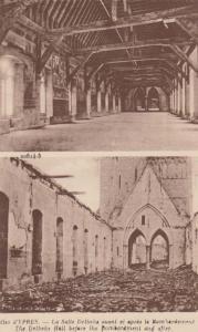 Ypres Belgium Delbeke Hall WW1 Military War Bomb Bombardment Damage Postcard