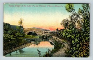 Winona MN, Lake Winona, Rustic Bridge, Vintage Minnesota Postcard