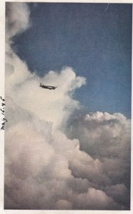 UNITED Air Lines Mainliner Airplane highabove the old Overland Trail , 40-50s
