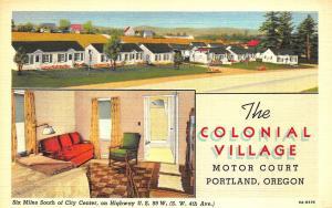 Portland OR The Colonial Village Two Views Curt Tech Linen Postcard