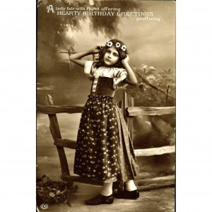 E.A. Schwerdtfeger Real Photograph Postcard 'Hearty Birthday Greetings'