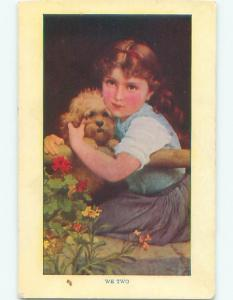 Pre-Linen WE TWO - CUTE GIRL HOLDING ADORABLE LITTLE DOG W7339
