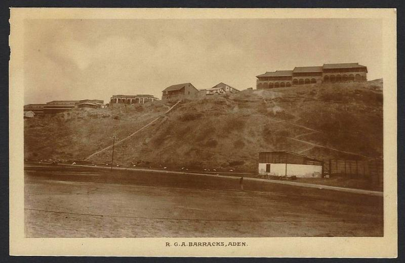 Aden R.G.A.Barracks real photo postcard by Dinshaw & Co. c.1910